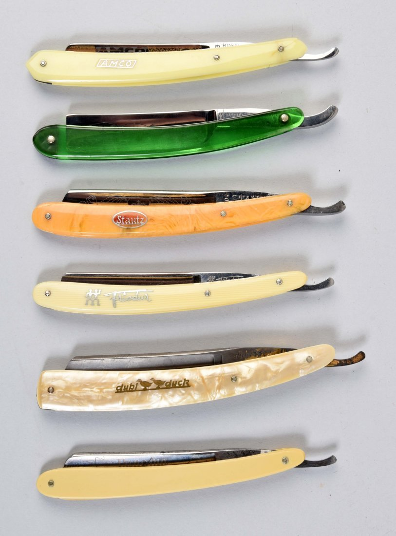 Lot Of 6: Colorful Celluloid Handled Straight Razors.