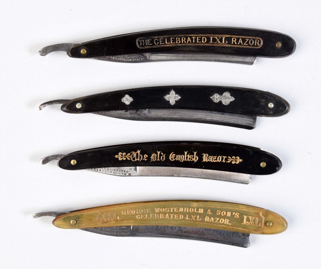 Lot Of 4: Early Horn Handled Straight Razors.