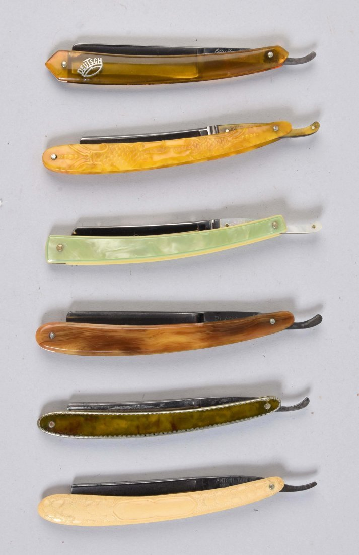 Lot Of 6: Colorful Celluloid Straight Razors.