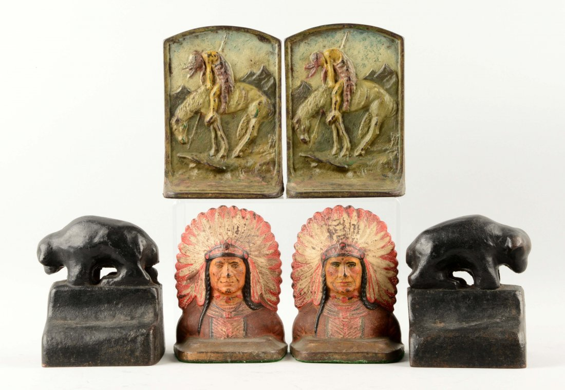 Lot of 3 Pairs: Cast Iron Assorted Bookends.
