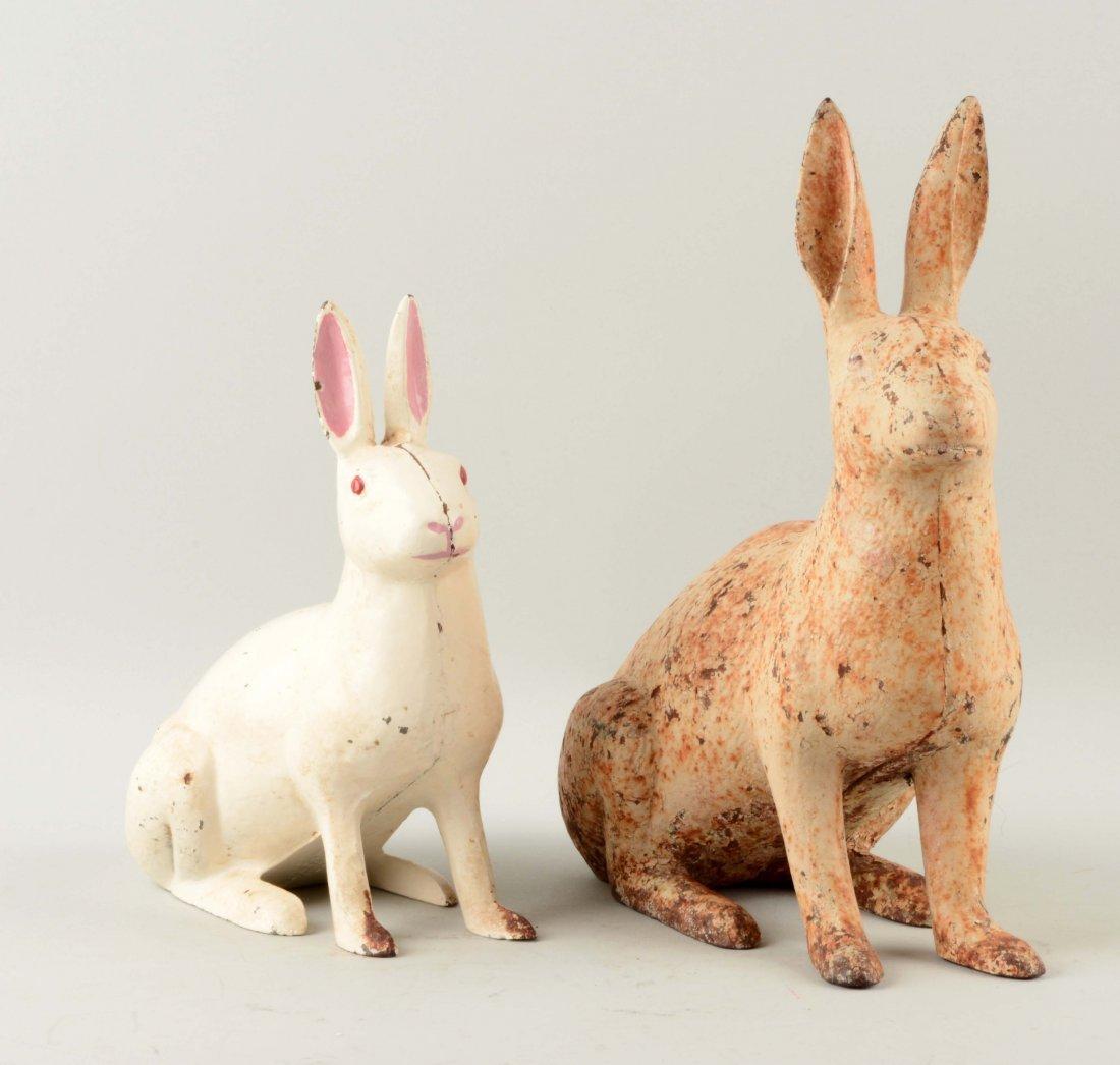 Lot of 2: Cast Iron Rabbit Garden Ornaments.