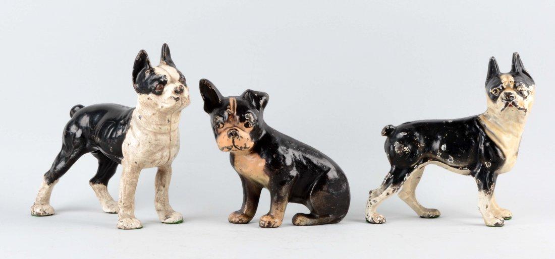 Lot of 3: Cast Iron Assorted Boston Terrier Doorstops.