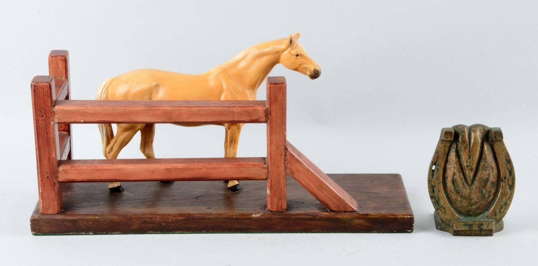 Lot of 2: Cast White Metal Horse & Horseshoe Doorstops.