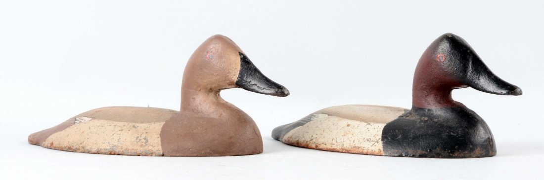 Lot of 2: Cast Iron Canvas Back Duck Sink Box Decoys.