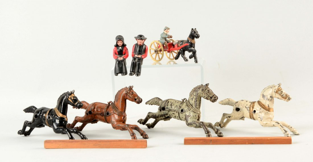 Lot of  Vintage Cast Iron Horses & Amish Couple.