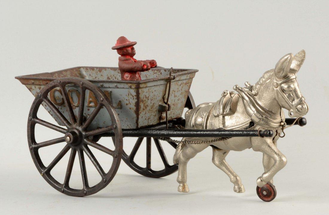 Cast Iron American Made Donkey Drawn Coal Wagon.