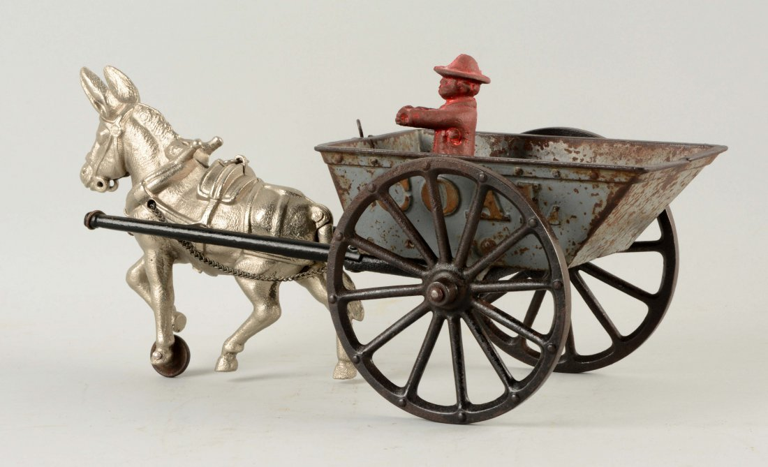Cast Iron American Made Donkey Drawn Coal Wagon. - 2
