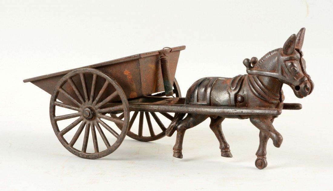 Cast Iron American Made Donkey Drawn Cart.