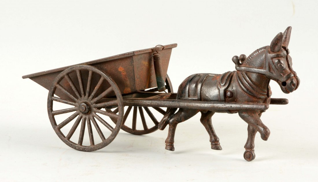 Cast Iron American Made Donkey Drawn Cart.