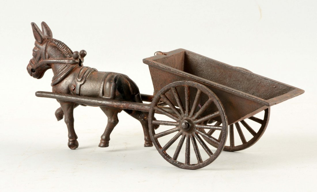 Cast Iron American Made Donkey Drawn Cart. - 2