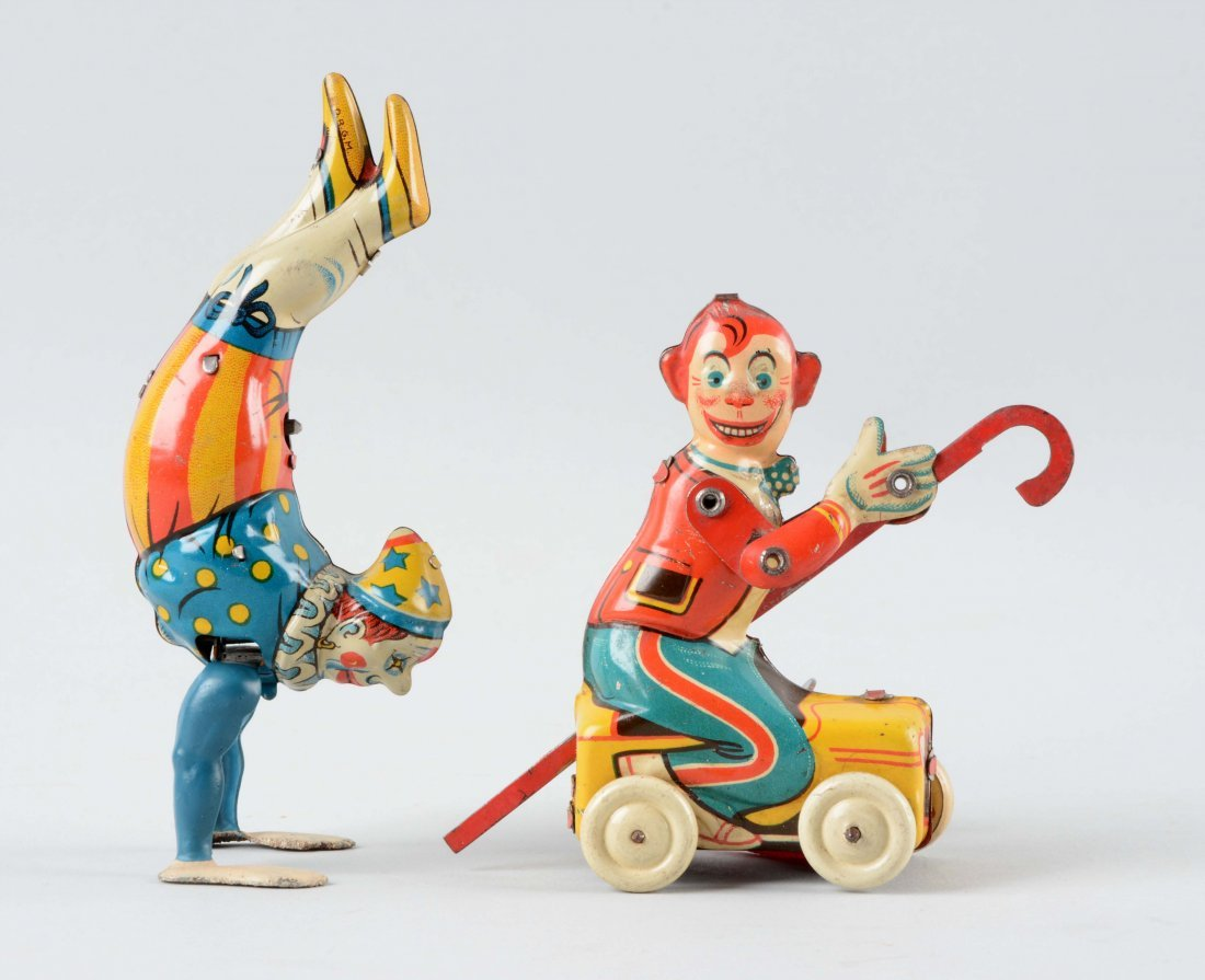 Lot Of 2: German Tin Litho Wind Up Circus Character