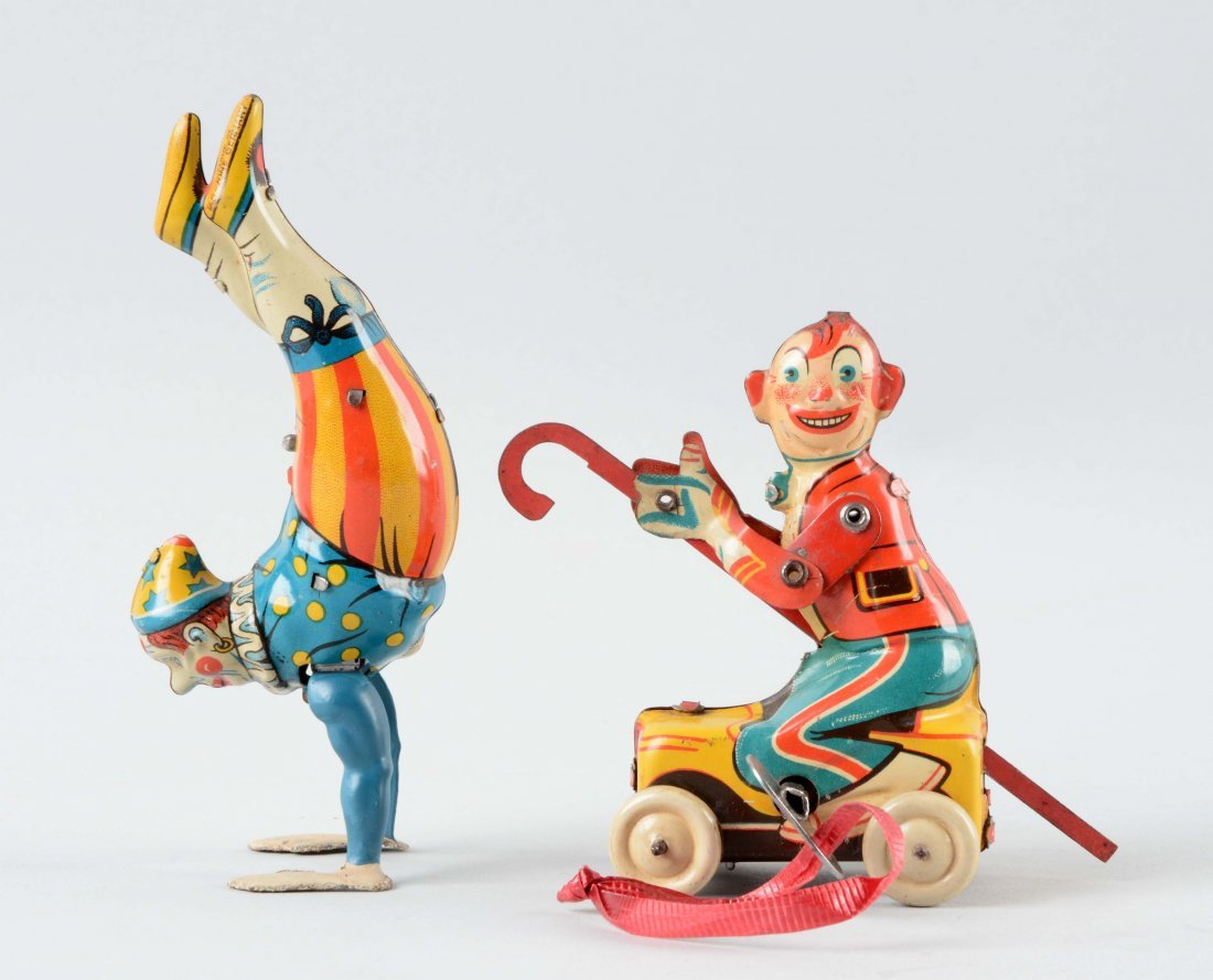 Lot Of 2: German Tin Litho Wind Up Circus Character - 2