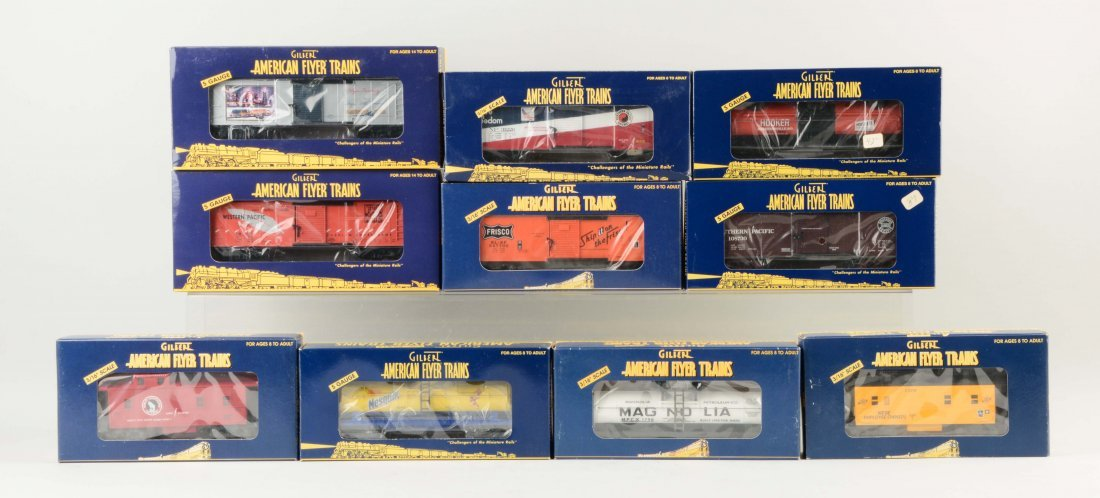 Lot of 10: Gilbert American Flyer S Gauge Freight Cars.