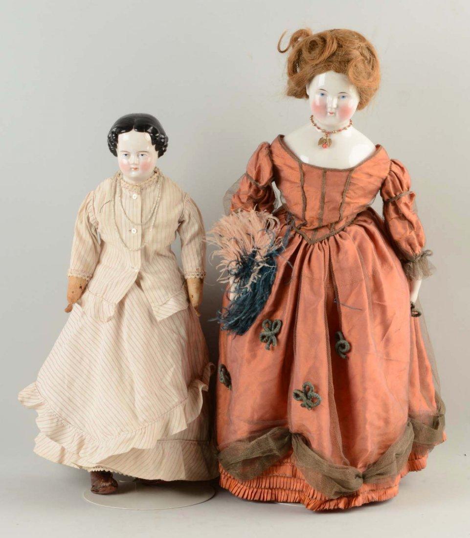 Lot Of 2: Large China Head Dolls.