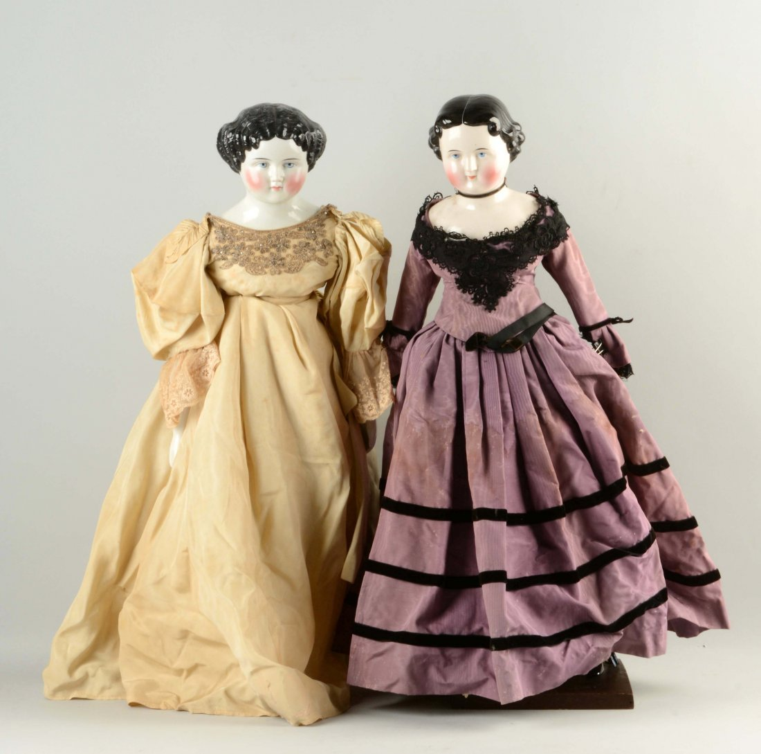 Lot Of 2: Large China-Head Dolls.