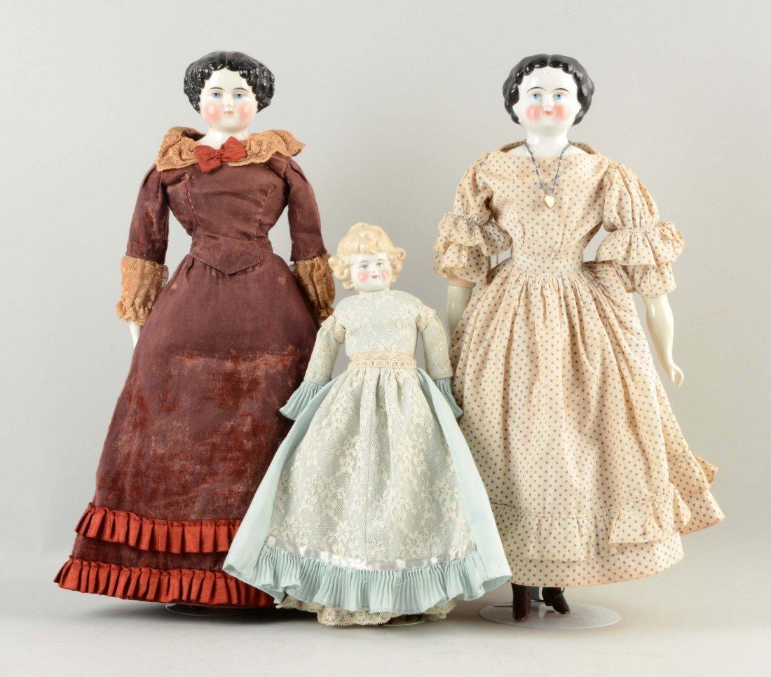 Lot Of 3: Assorted German China Head Dolls.