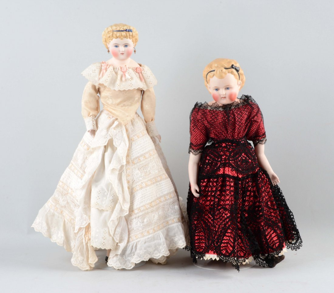 Lot Of 2: Parian Bisque Shoulder Head Dolls.