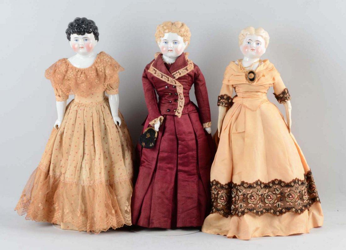 Lot Of 3: German China Shoulder Head Dolls.