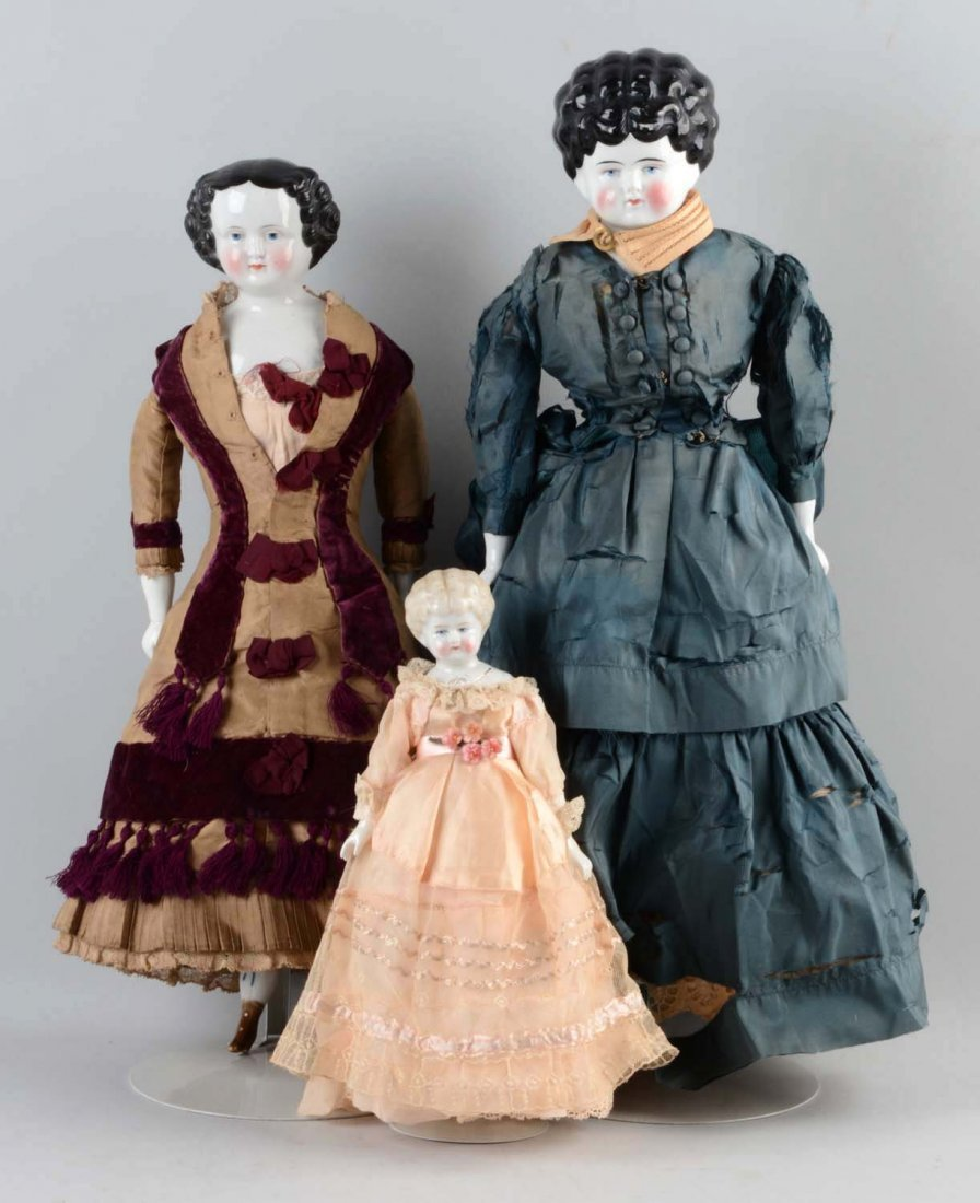 Lot Of 3: German China Shoulder - Head Dolls.