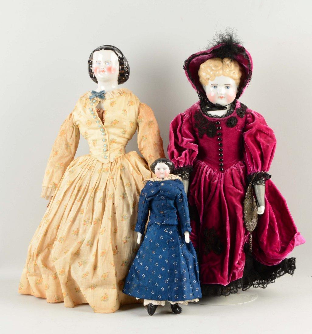 Lot Of 3: German China Head Dolls.