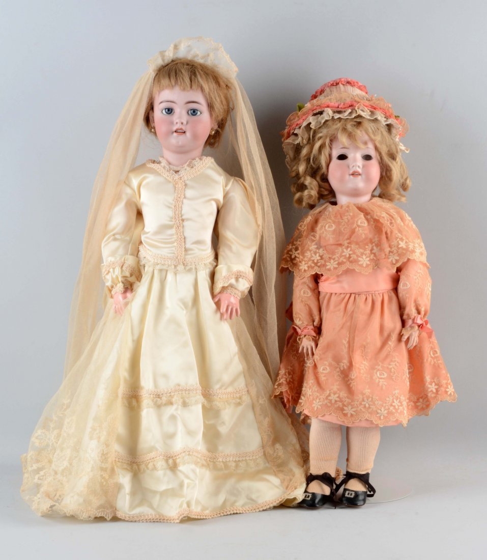 Lot Of 2: Large German Bisque Head Dolls.