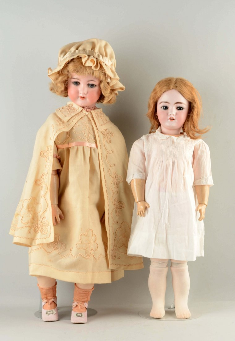 Lot Of 2: Large German Bisque Child Dolls.