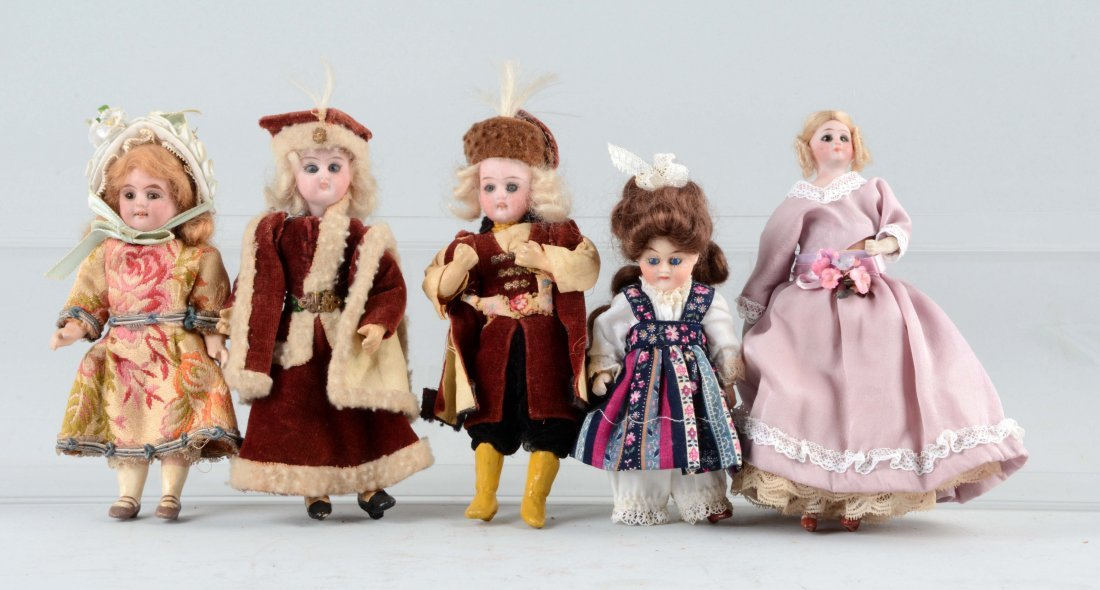 Lot Of 5: Small German Bisque Dolls.