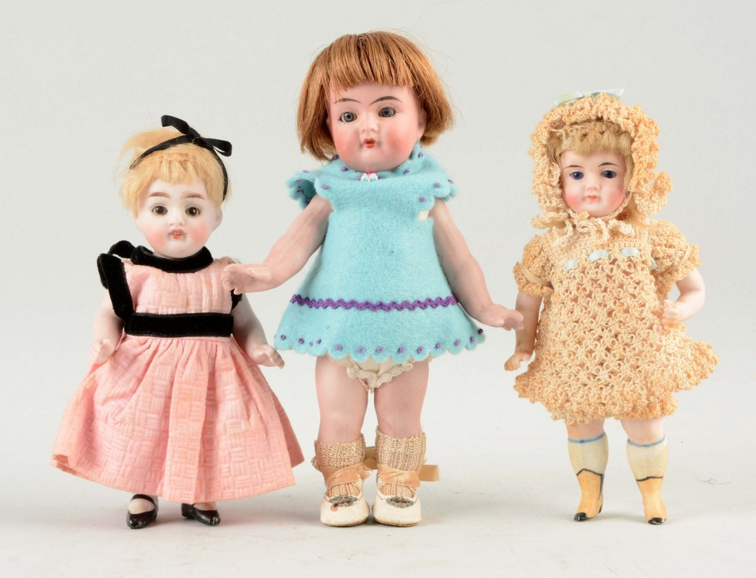 Lot Of 3: Small All Bisque Dolls.