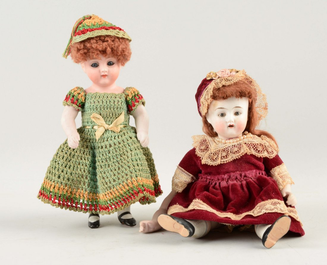 Lot Of 2: All Bisque Child Dolls.
