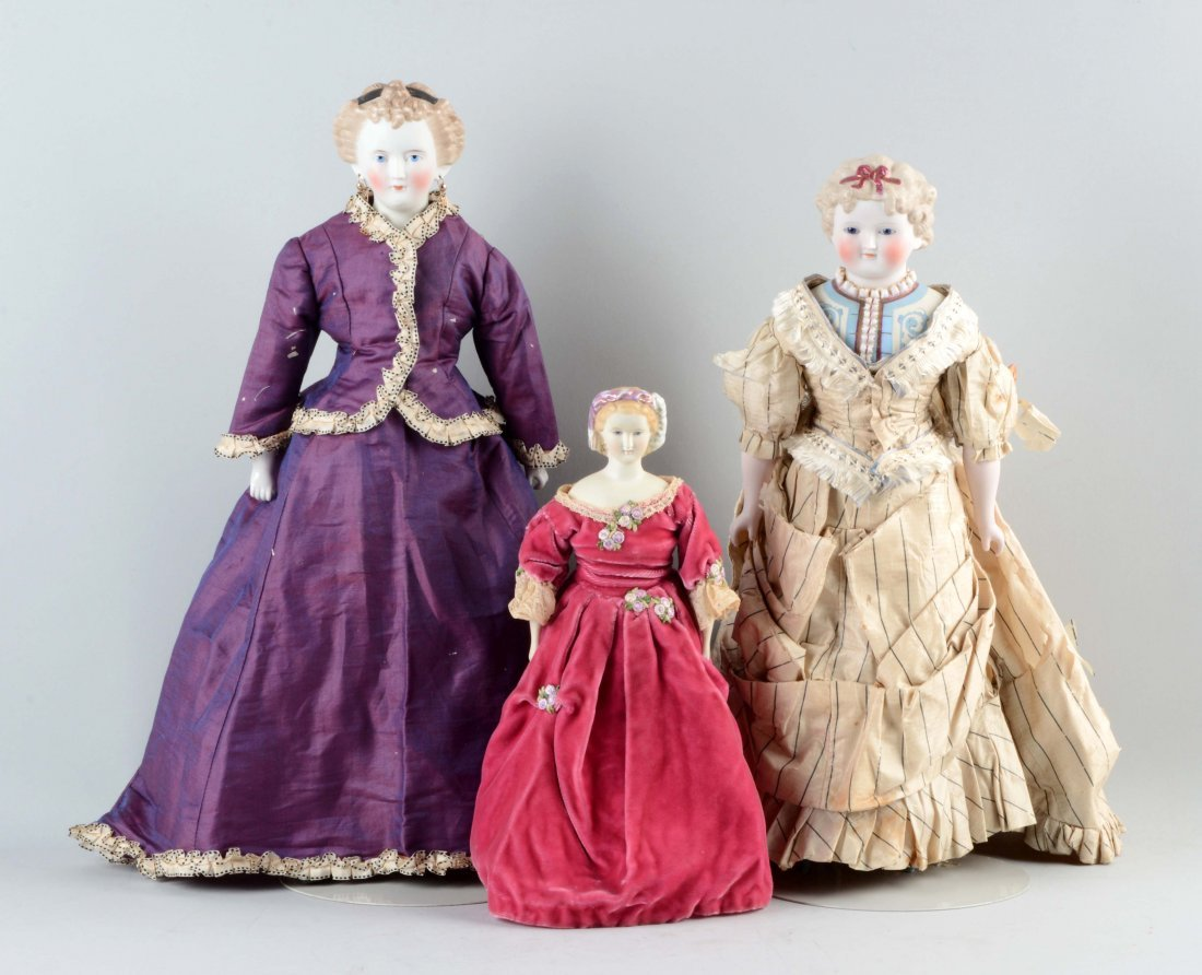 Lot Of 3: German Parian Dolls.