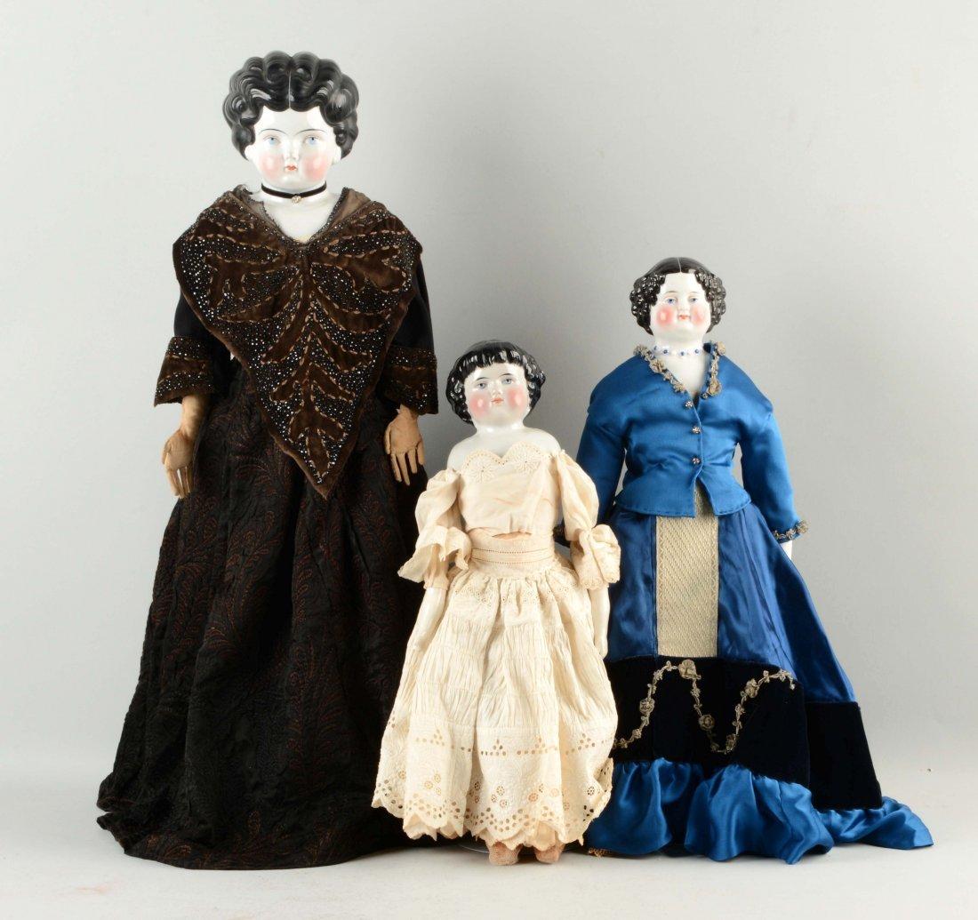 Lot of 3: German China Shoulder - Head Dolls.