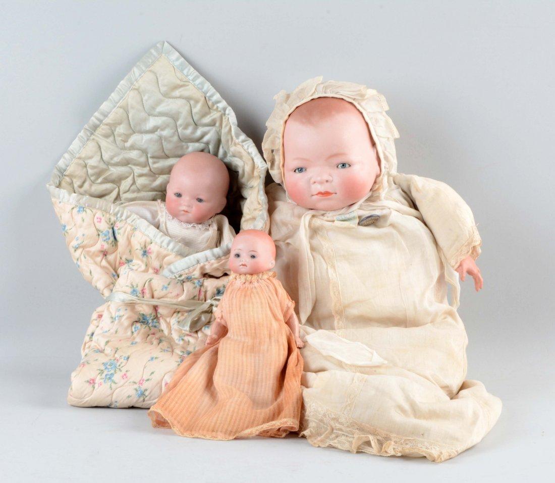 Lot Of 3: German Bisque Head Baby Dolls.