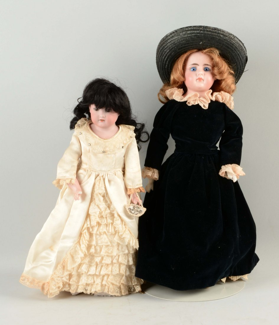 Lot Of 2: German Bisque Shoulder - Head Dolls.