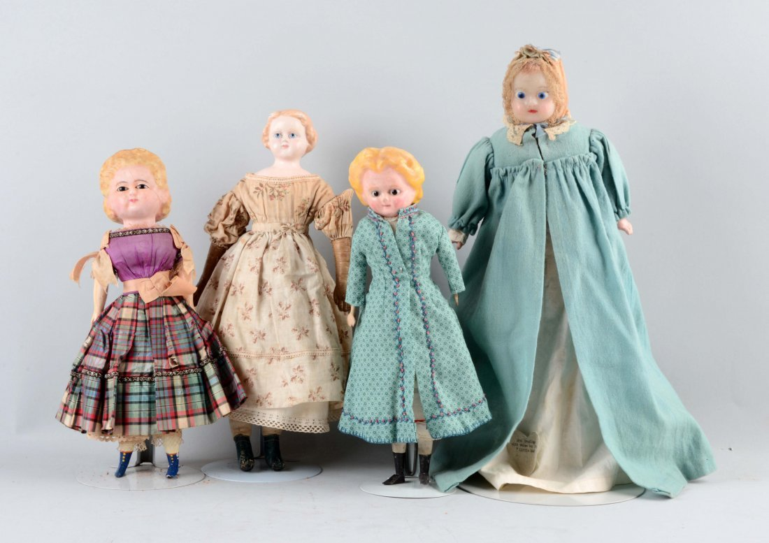Lot Of 4: Assorted Early Dolls.