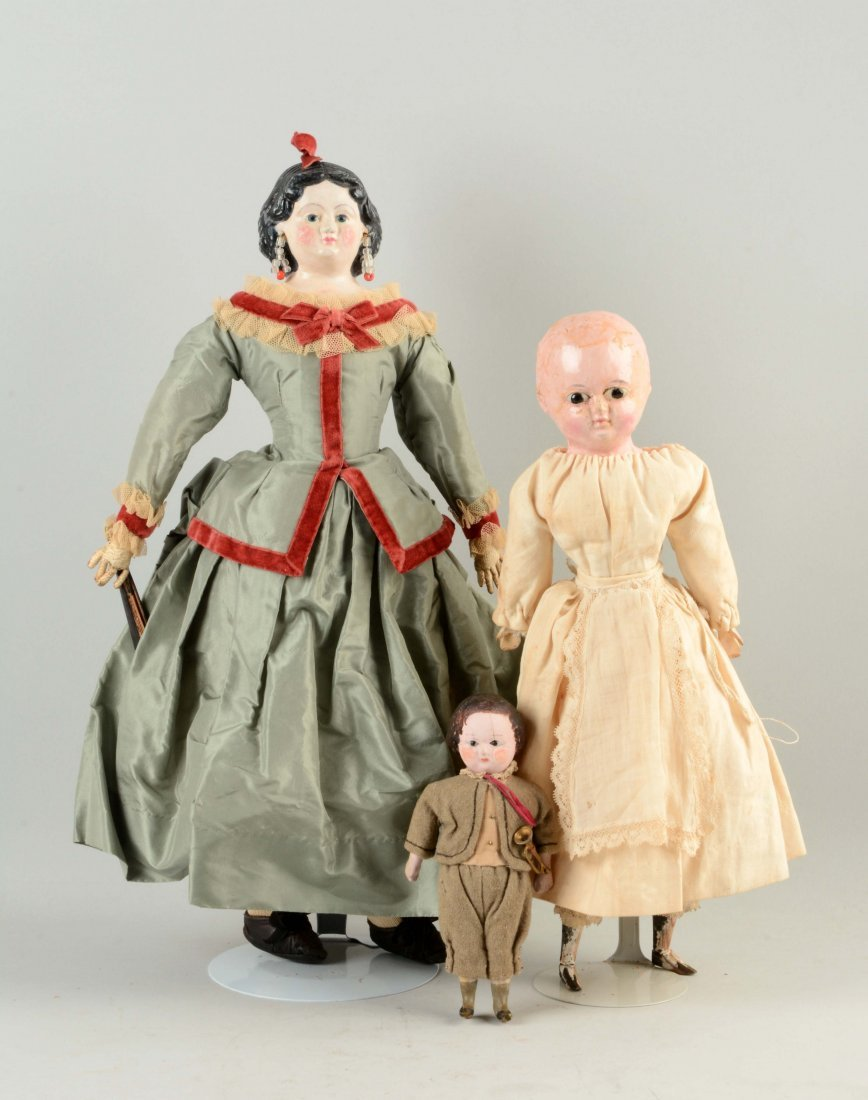 Lot Of 3: Assorted Papier-Mâché Dolls.