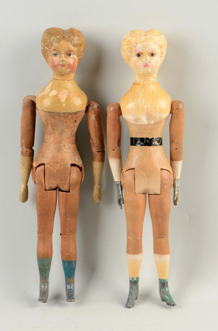 Lot Of 2: Fully Jointed American Wooden Dolls.