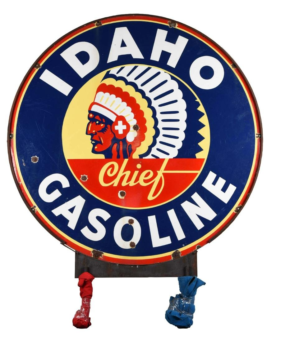 Rare Idaho Chief Gasoline Identification Porcelain sign