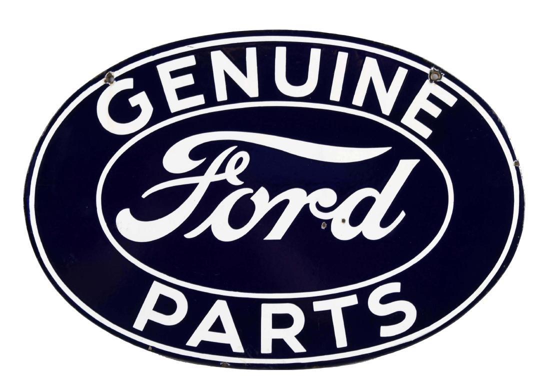 Genuine Ford Parts Oval Porcelain Sign.