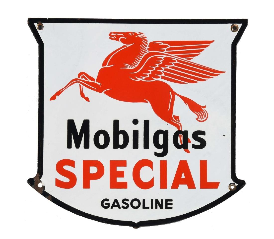 Mobilgas Speical Gasoline w/ Drop-leg Logo Shield