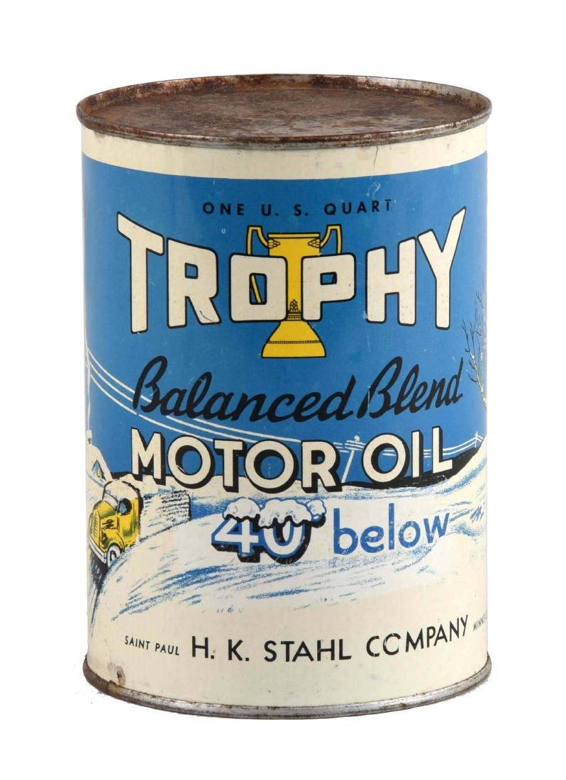 Trophy Motor Oil w/ Truck in Snow One Quart Can.
