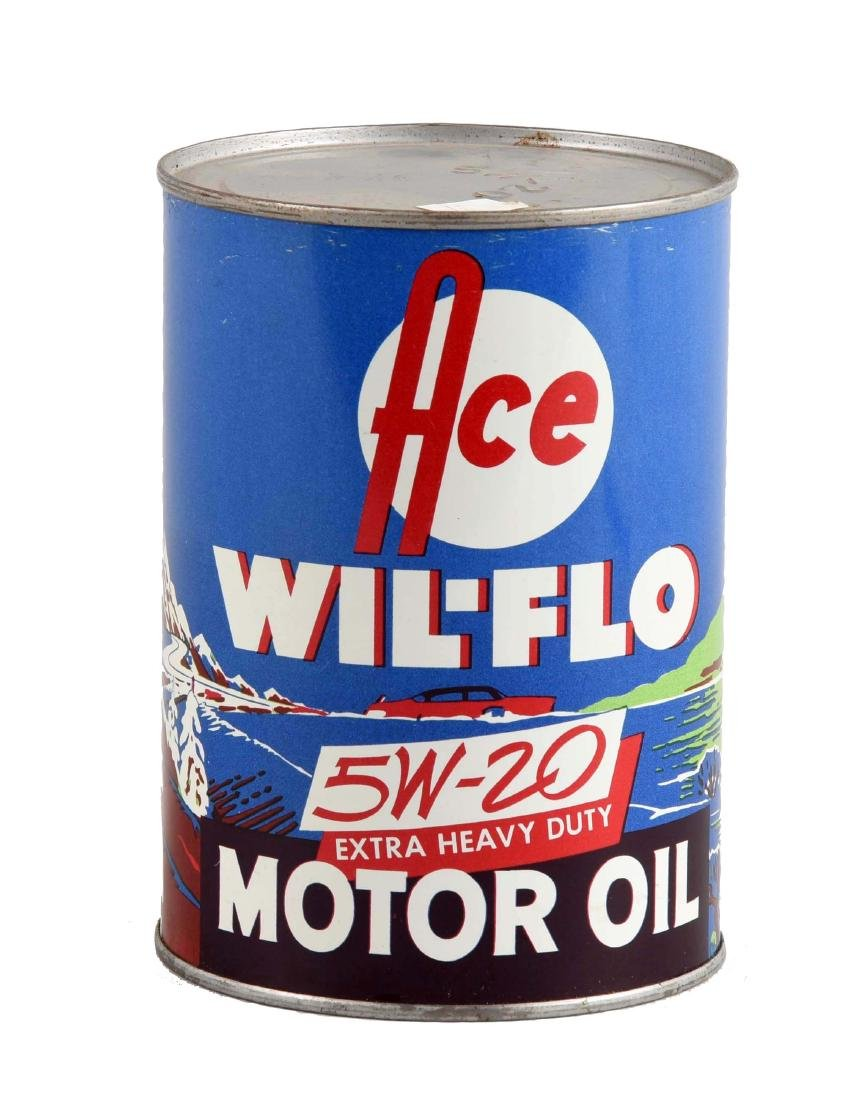 Ace Wil-Flo Motor Oil One Quart Can.