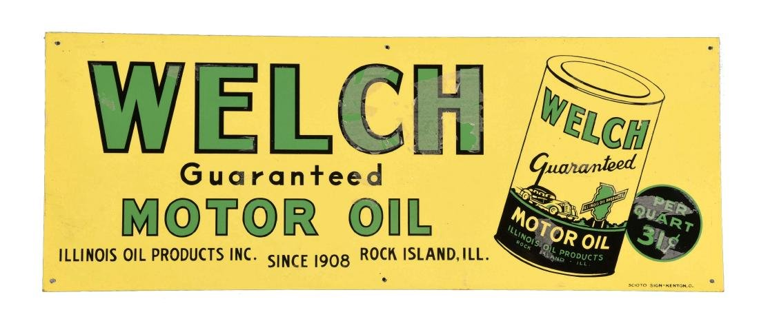 Welch Motor Oil w/ Can Logo Tin Sign.