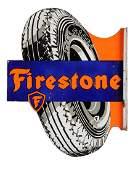 Firestone Balloon (tires) Porcelain Diecut Flange Sign.