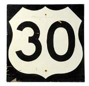 US Route 30 Lincoln Highway Wooden Road Sign