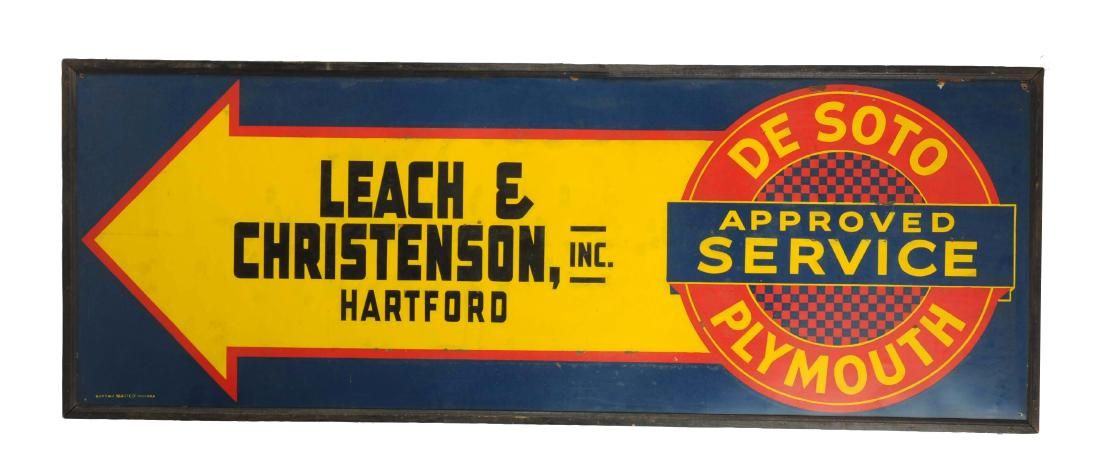 DeSoto Plymouth Approved Service Tin Sign.