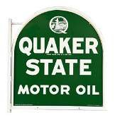 Quaker State Motor Oil Tombstone Shaped Tin Sign