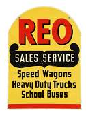 REO Sales  Service Tombstone Shaped Tin Sign
