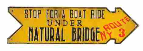 Stop for a Boat Ride Embossed Diecut Tin Sign.