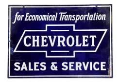 Chevrolet in Bowtie Sales  Service Porcelain Sign