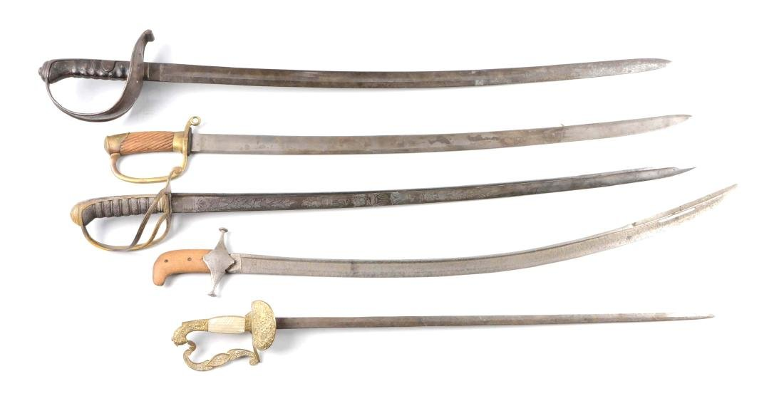 Lot Of 5: Swords without Scabbards.
